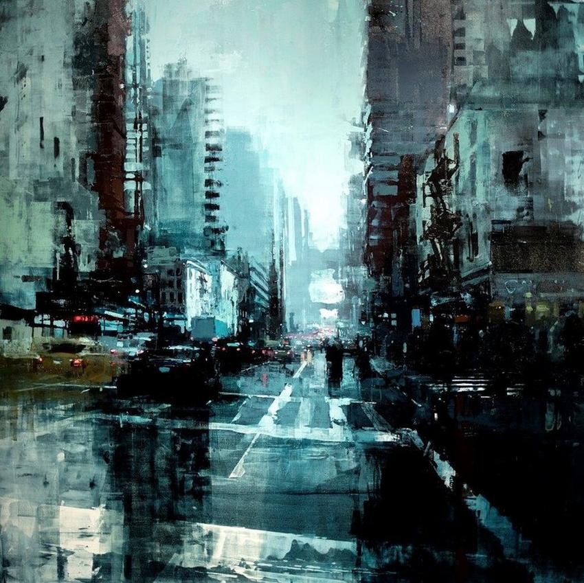 Неспящий город в масляной живописи Джереми Манна 21