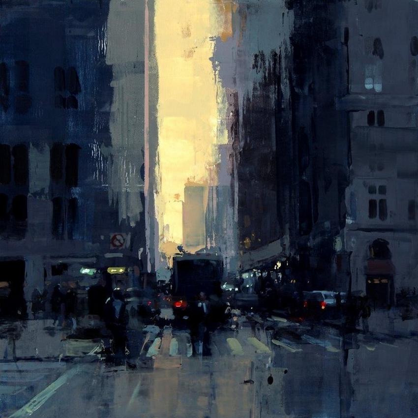 Неспящий город в масляной живописи Джереми Манна 23