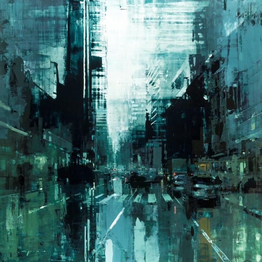 Неспящий город в масляной живописи Джереми Манна 26