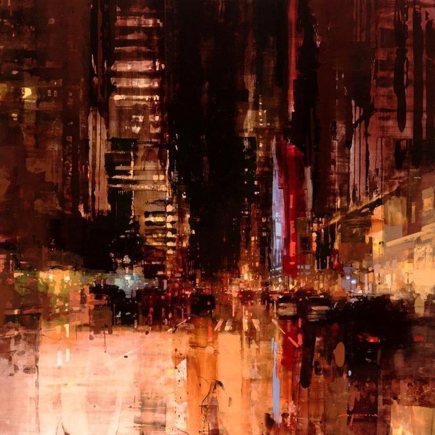 Неспящий город в масляной живописи Джереми Манна 27