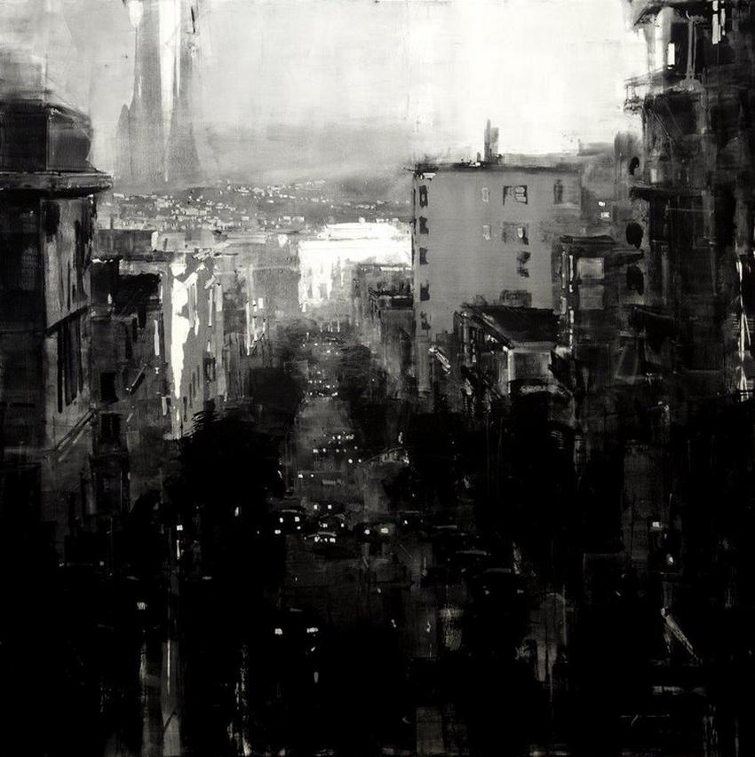 Неспящий город в масляной живописи Джереми Манна 3