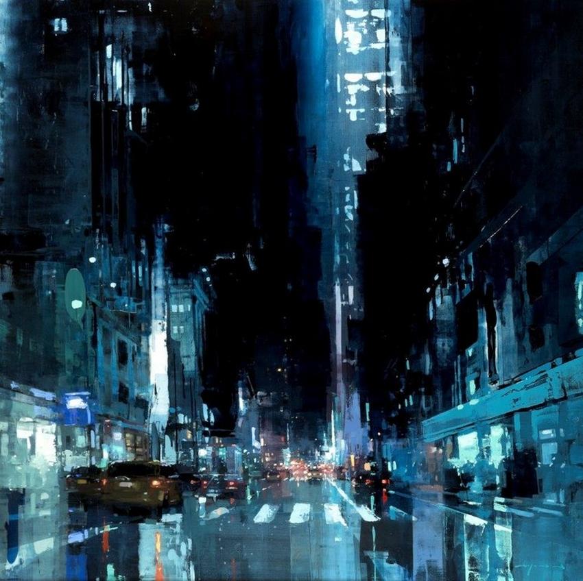 Неспящий город в масляной живописи Джереми Манна 33