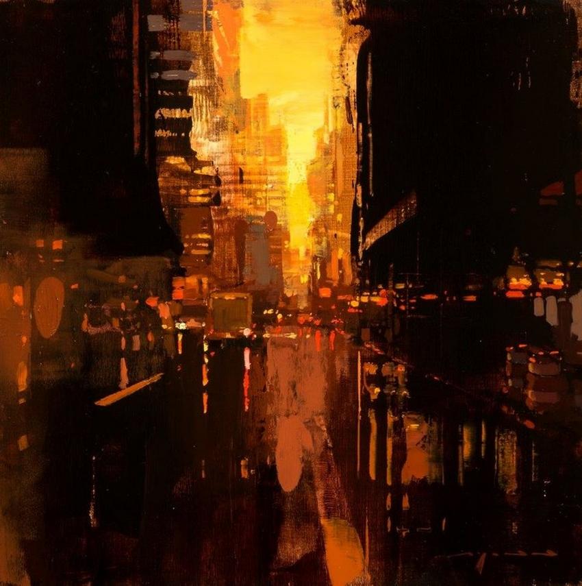 Неспящий город в масляной живописи Джереми Манна 34