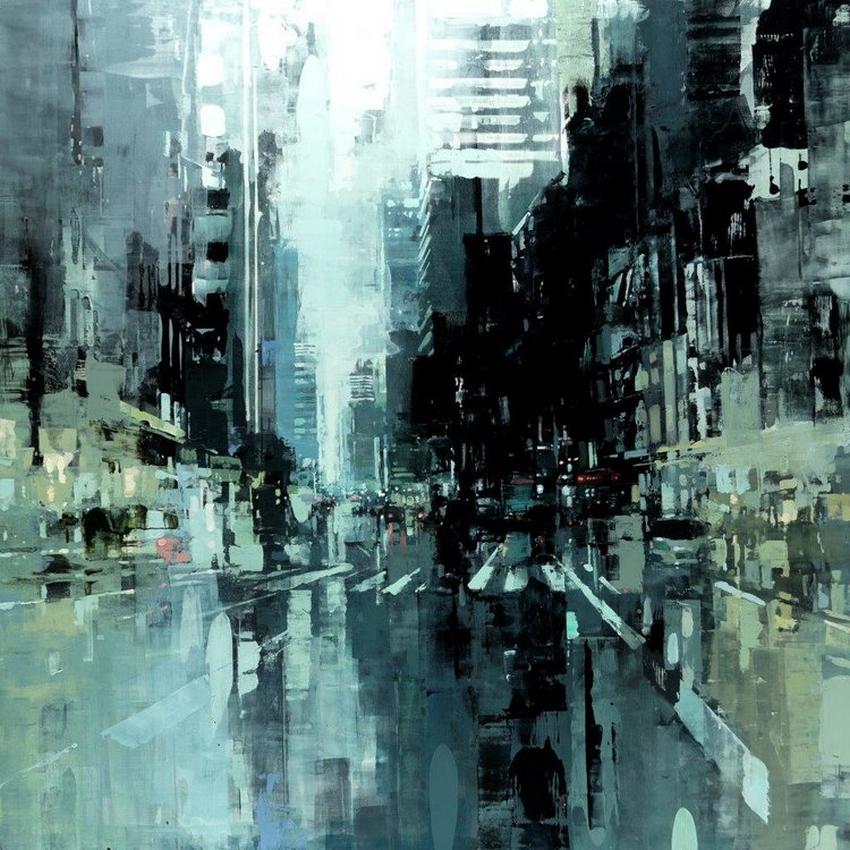 Неспящий город в масляной живописи Джереми Манна 35