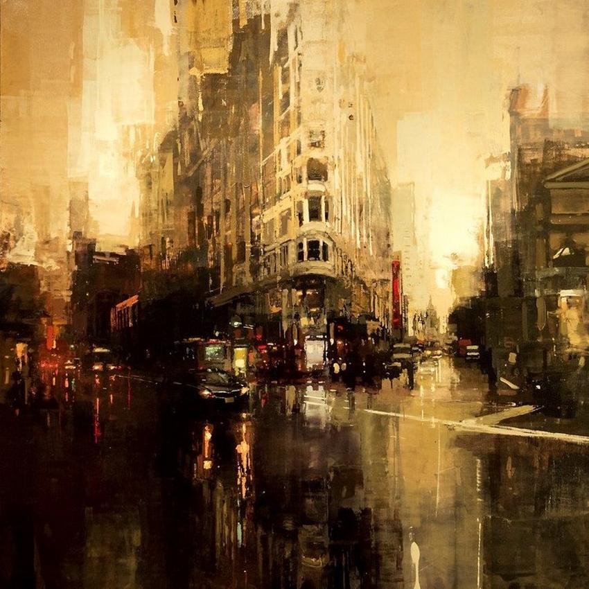 Неспящий город в масляной живописи Джереми Манна 38