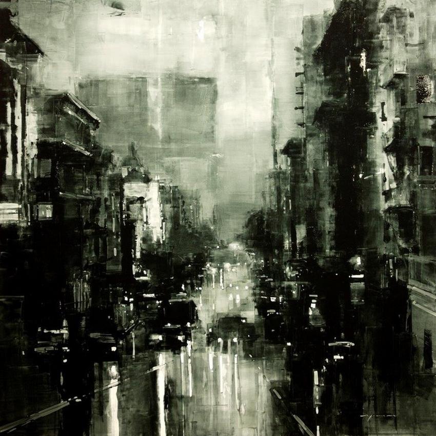 Неспящий город в масляной живописи Джереми Манна 4