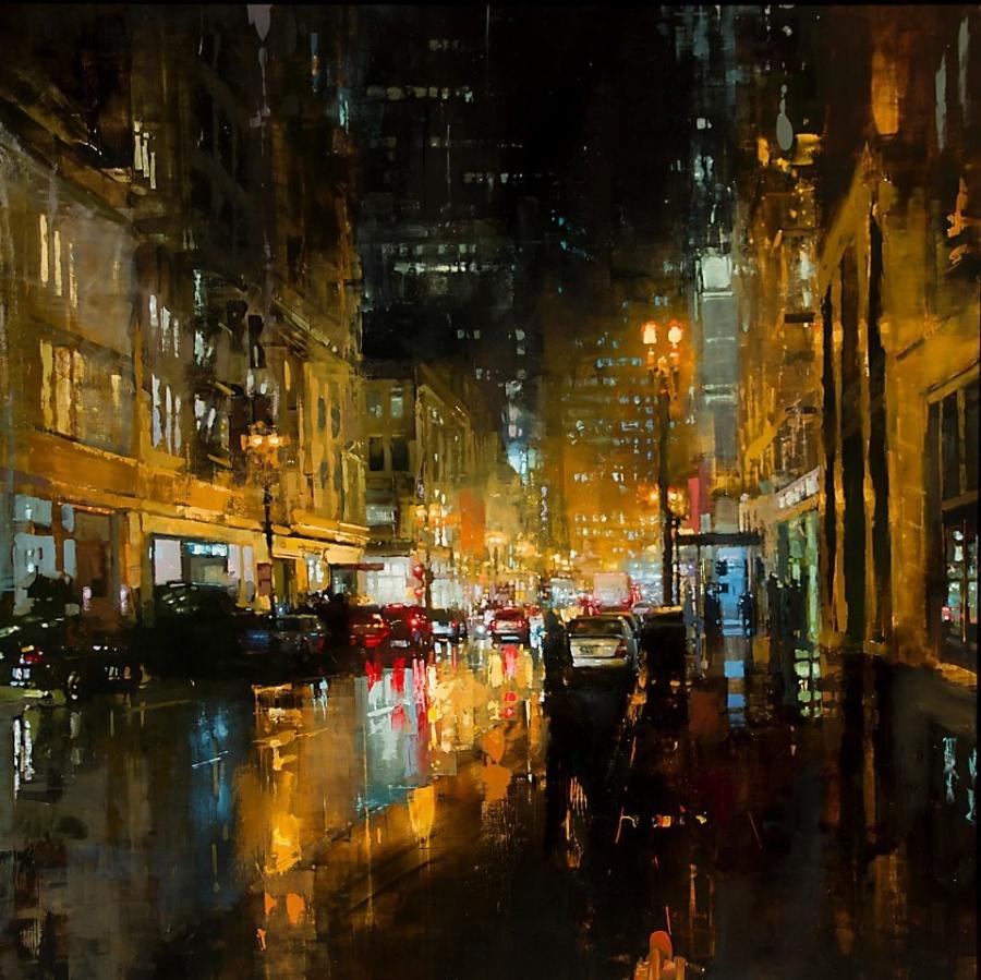 Неспящий город в масляной живописи Джереми Манна 40