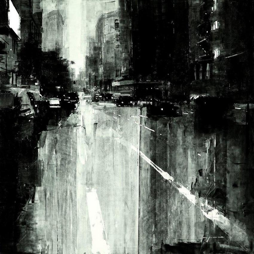 Неспящий город в масляной живописи Джереми Манна 6