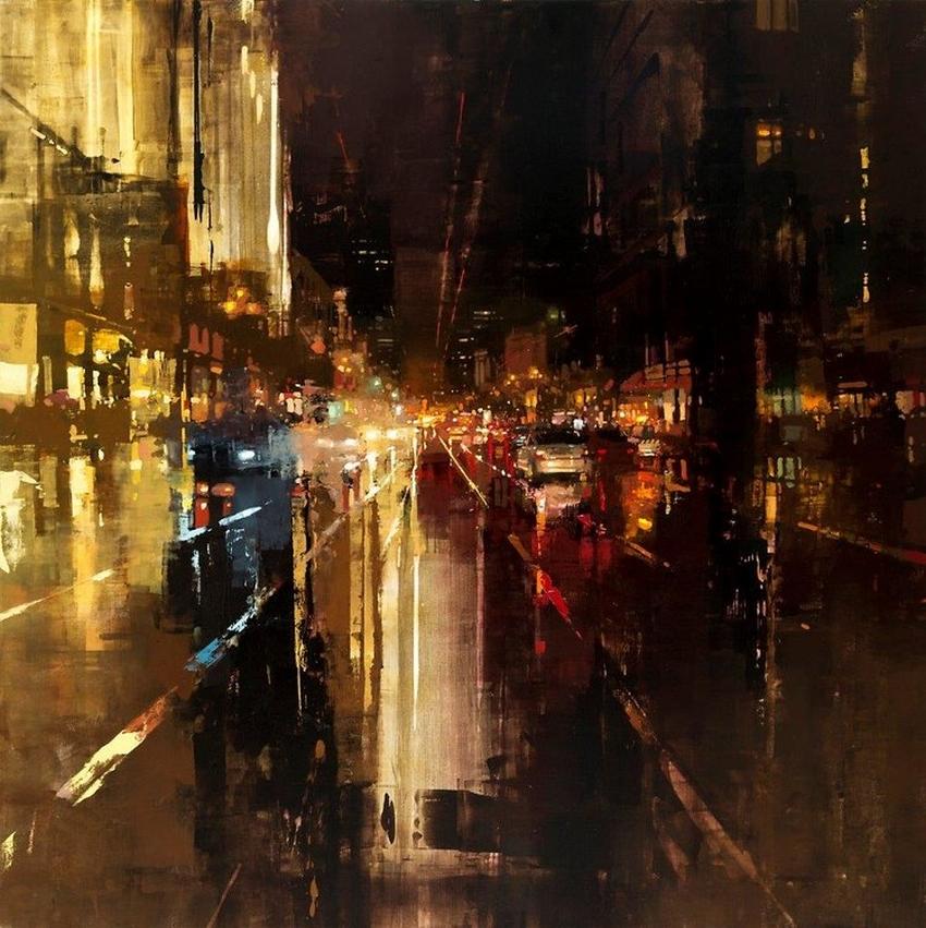 Неспящий город в масляной живописи Джереми Манна 9
