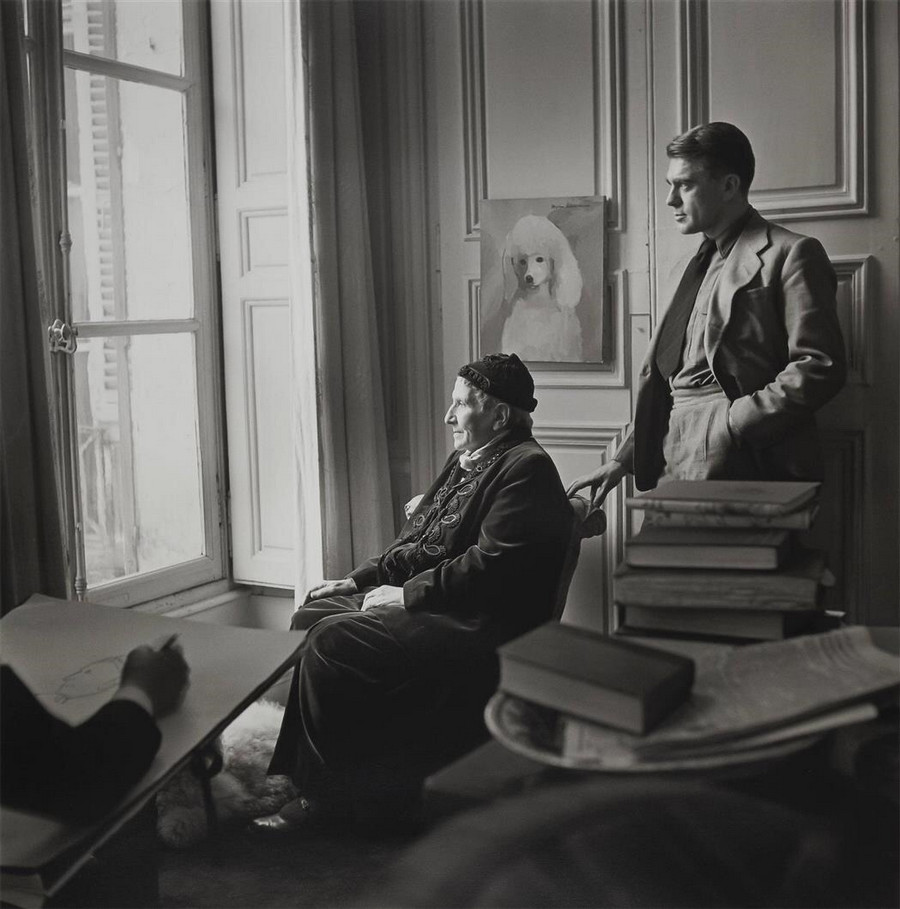 Carl Erickson drawing Gertrude Stein and Horst Paris  1946