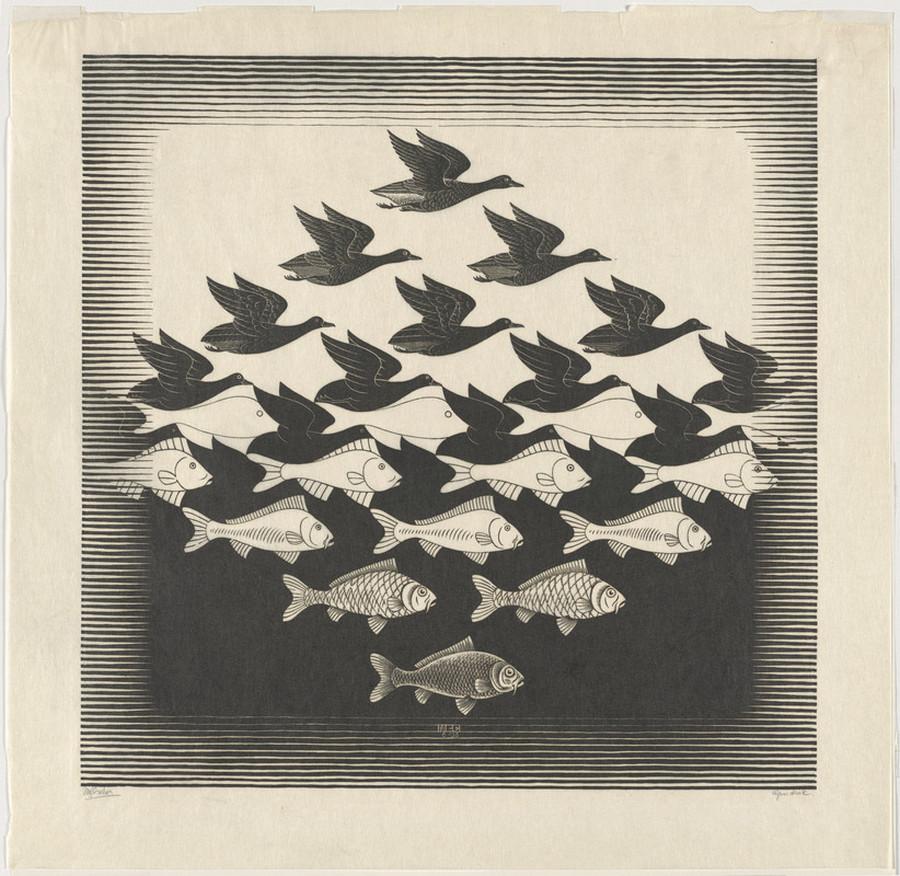 Оптические иллюзии  Маурица Эшера 8