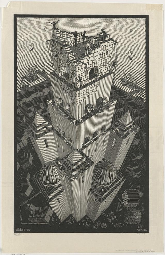 Онлайн-архив: оптические иллюзии и невозможные гравюры Маурица Эшера 12
