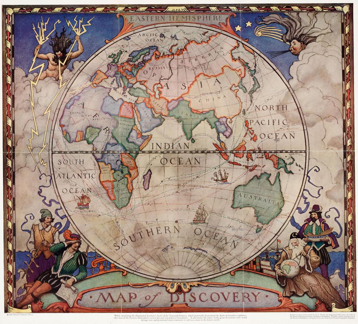 National Geographic оцифровал свою коллекцию карт за 130 лет. От карт звёзд до океанского дна  2