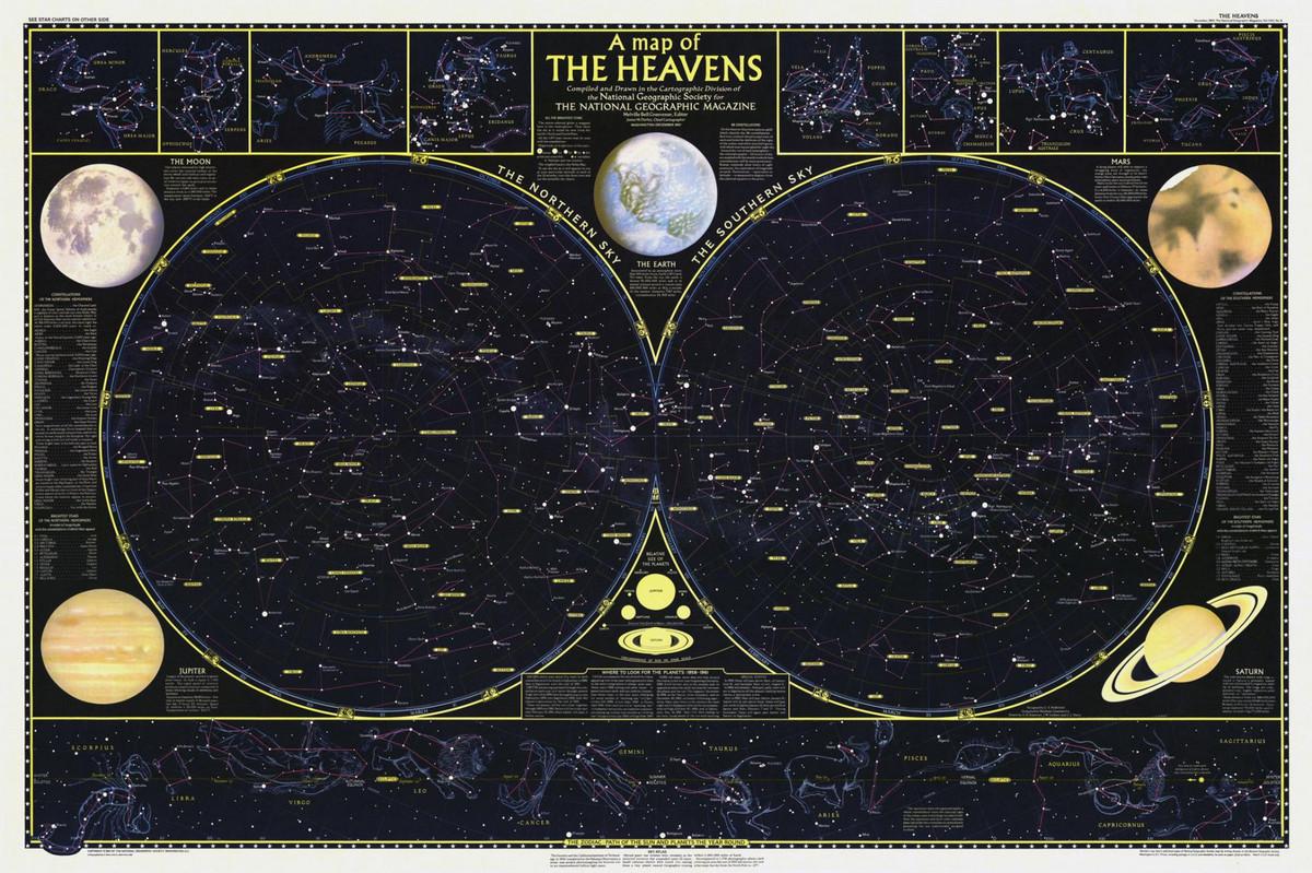 National Geographic оцифровал свою коллекцию карт за 130 лет. От карт звёзд до океанского дна  4