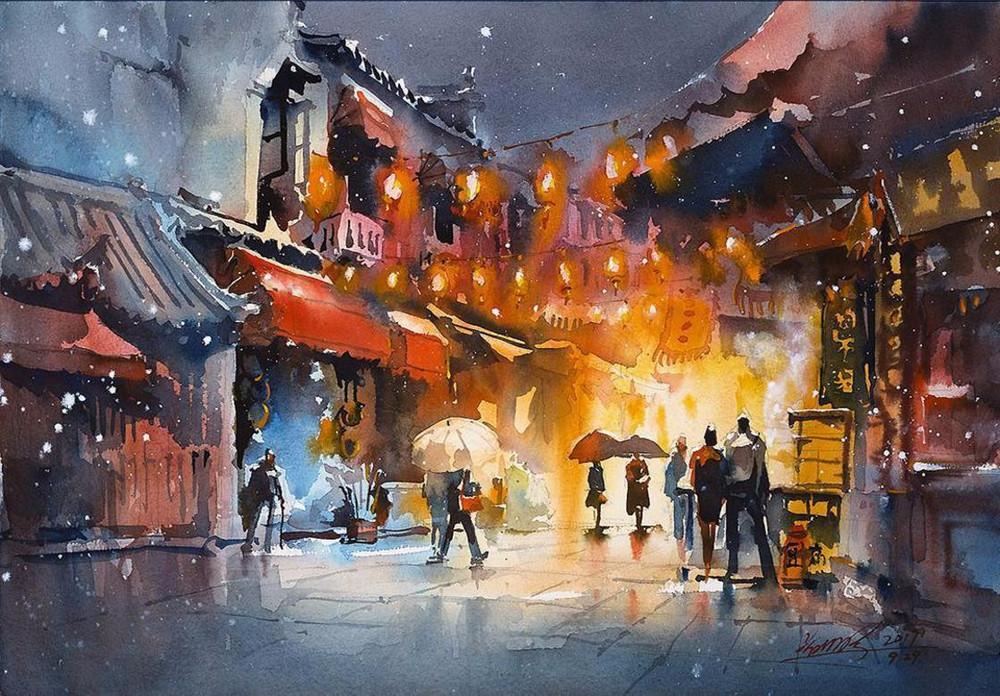 goroda-v-akvarelnyh-kartinah-hudozhnika-Kvan-Yyuk-Pang 10