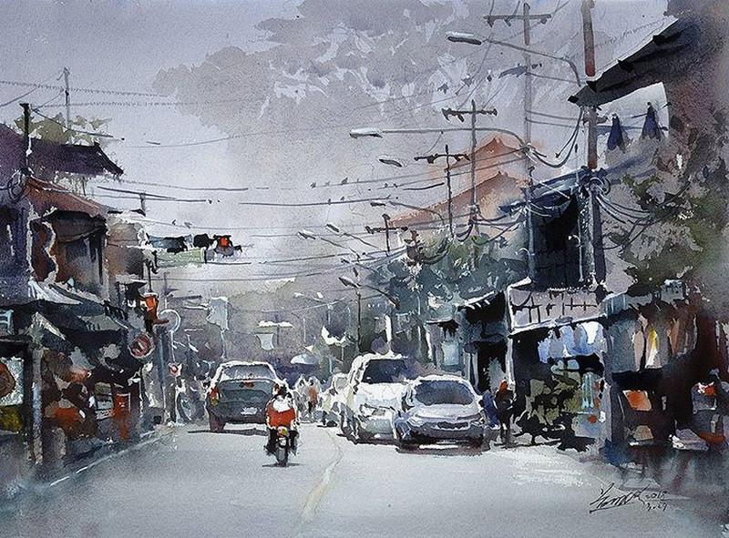 goroda-v-akvarelnyh-kartinah-hudozhnika-Kvan-Yyuk-Pang 13