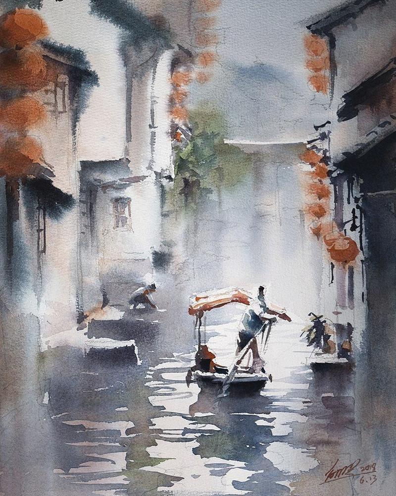 goroda-v-akvarelnyh-kartinah-hudozhnika-Kvan-Yyuk-Pang 15