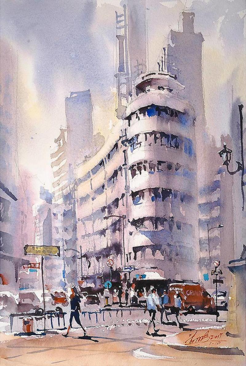 goroda-v-akvarelnyh-kartinah-hudozhnika-Kvan-Yyuk-Pang 18
