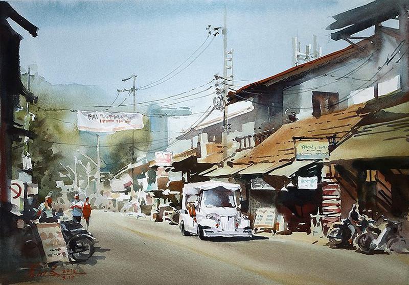 goroda-v-akvarelnyh-kartinah-hudozhnika-Kvan-Yyuk-Pang 19