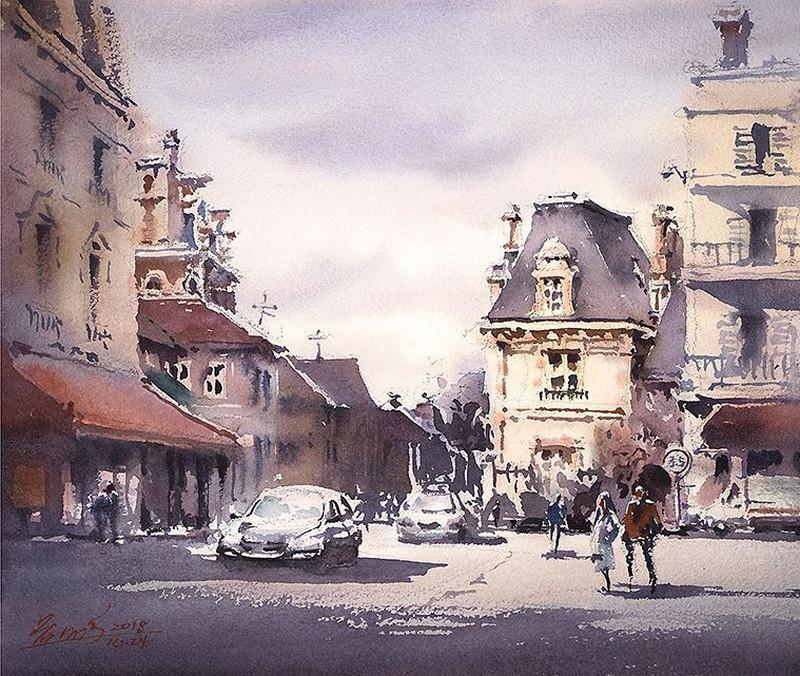 goroda-v-akvarelnyh-kartinah-hudozhnika-Kvan-Yyuk-Pang 21