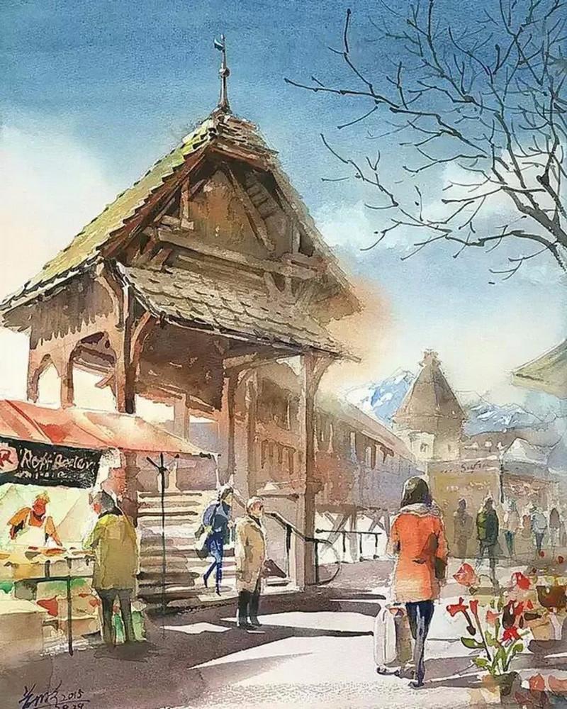 goroda-v-akvarelnyh-kartinah-hudozhnika-Kvan-Yyuk-Pang 24