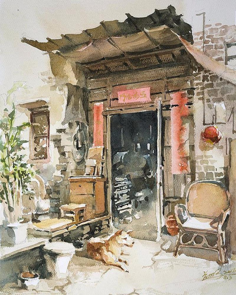goroda-v-akvarelnyh-kartinah-hudozhnika-Kvan-Yyuk-Pang 25