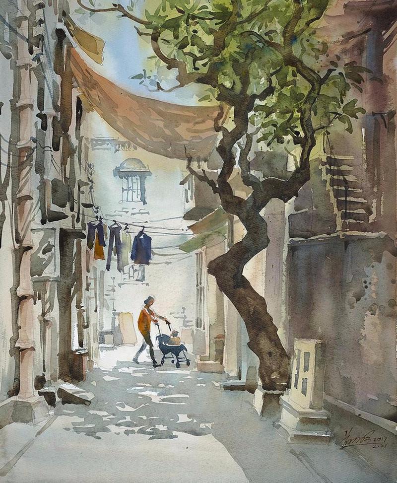 goroda-v-akvarelnyh-kartinah-hudozhnika-Kvan-Yyuk-Pang 27