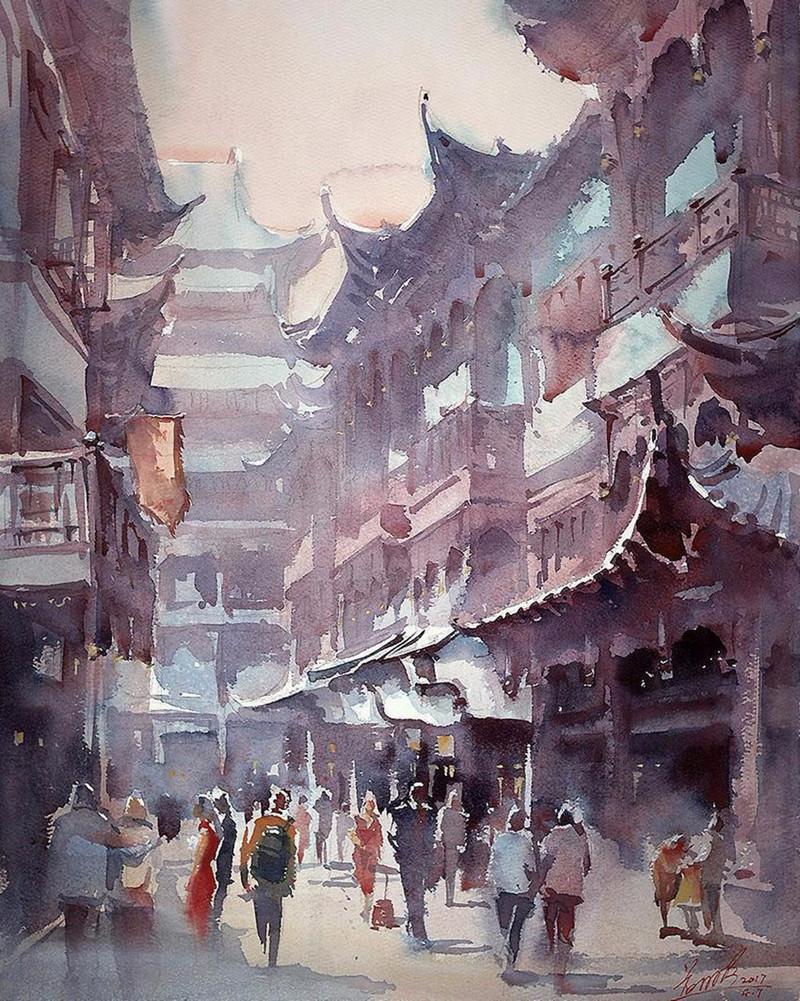 goroda-v-akvarelnyh-kartinah-hudozhnika-Kvan-Yyuk-Pang 28