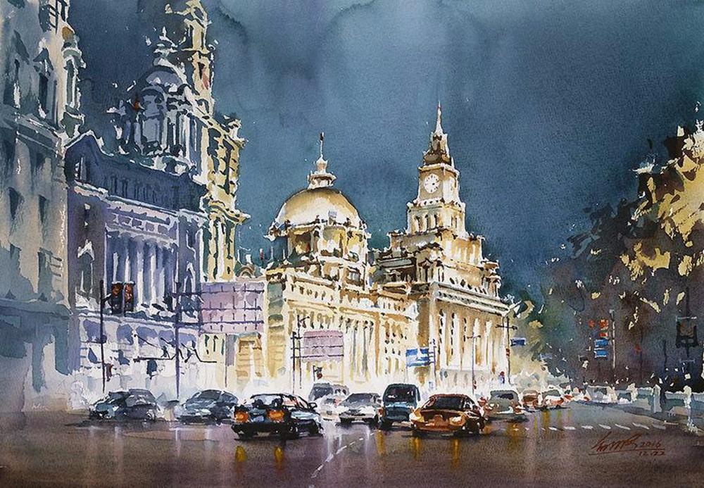 goroda-v-akvarelnyh-kartinah-hudozhnika-Kvan-Yyuk-Pang 3