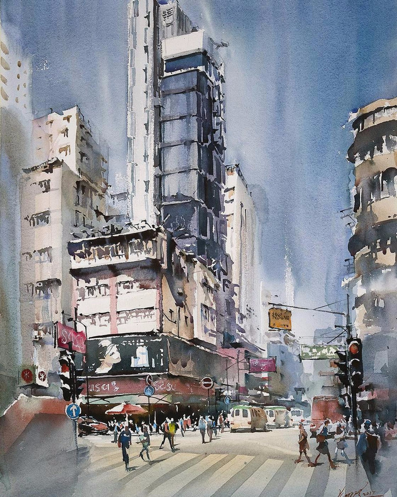 goroda-v-akvarelnyh-kartinah-hudozhnika-Kvan-Yyuk-Pang 30
