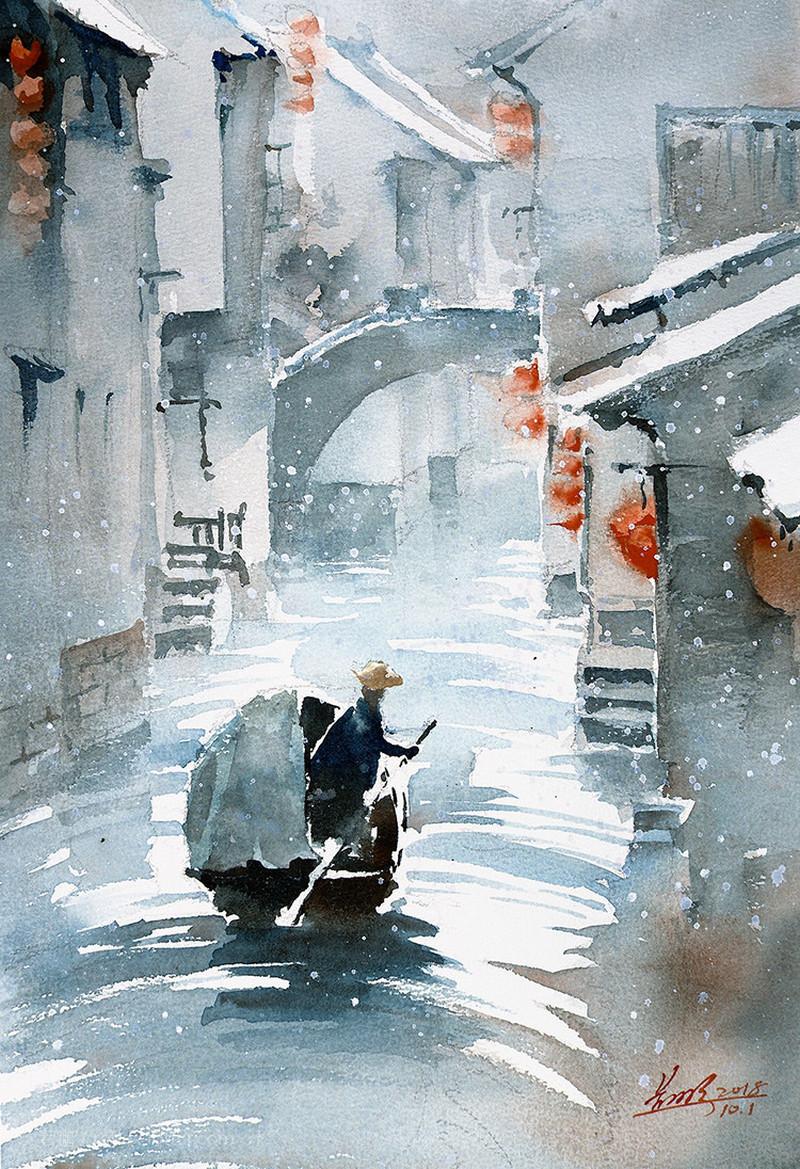 goroda-v-akvarelnyh-kartinah-hudozhnika-Kvan-Yyuk-Pang 33