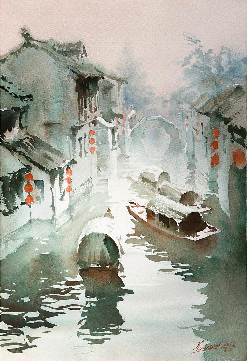 goroda-v-akvarelnyh-kartinah-hudozhnika-Kvan-Yyuk-Pang 34