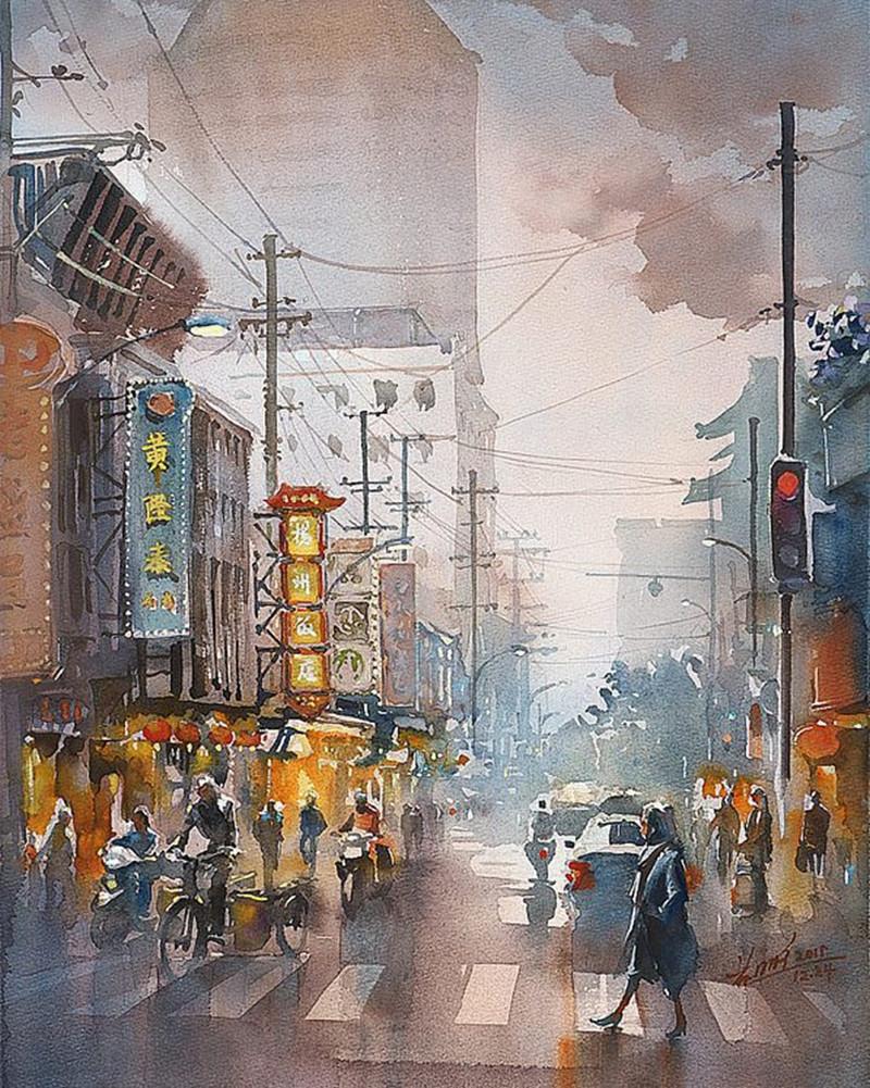 goroda-v-akvarelnyh-kartinah-hudozhnika-Kvan-Yyuk-Pang 37