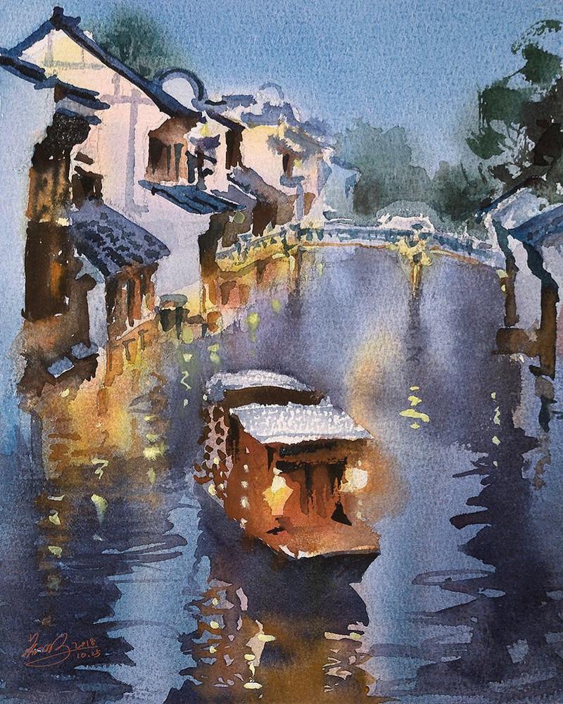 goroda-v-akvarelnyh-kartinah-hudozhnika-Kvan-Yyuk-Pang 39