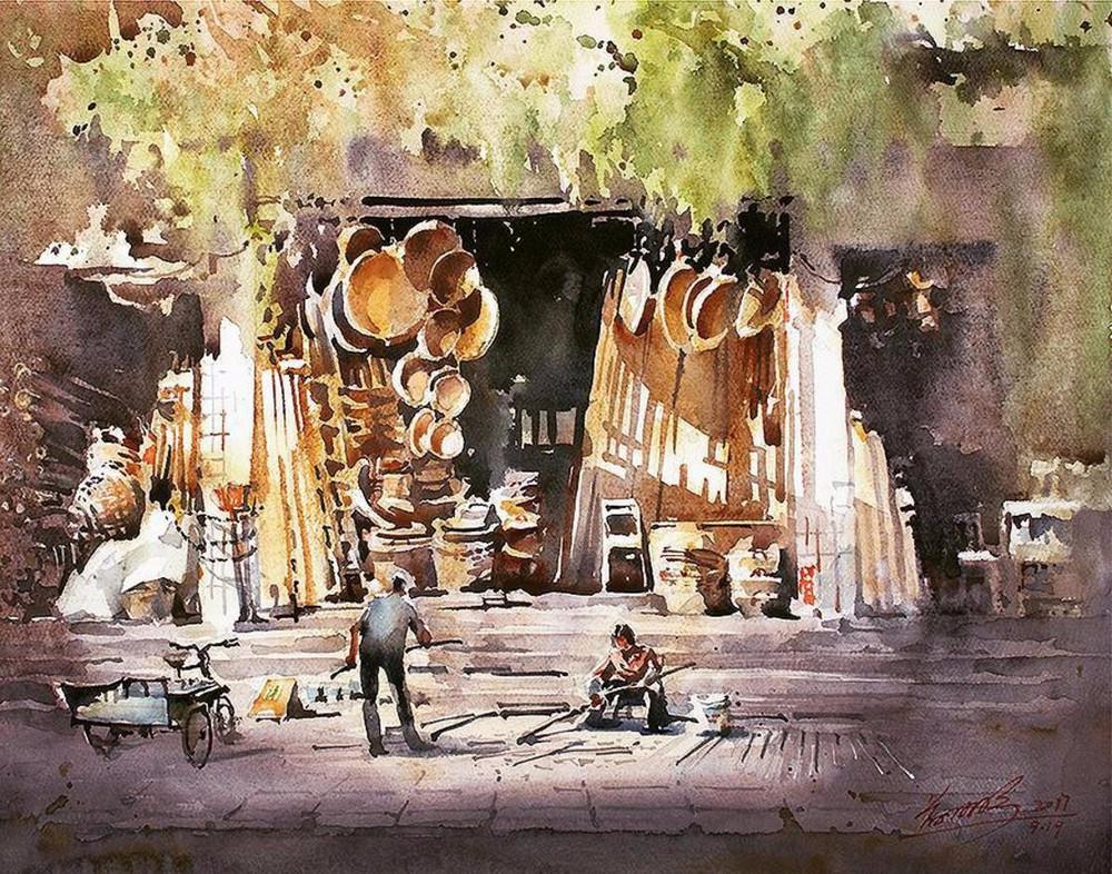 goroda-v-akvarelnyh-kartinah-hudozhnika-Kvan-Yyuk-Pang 7