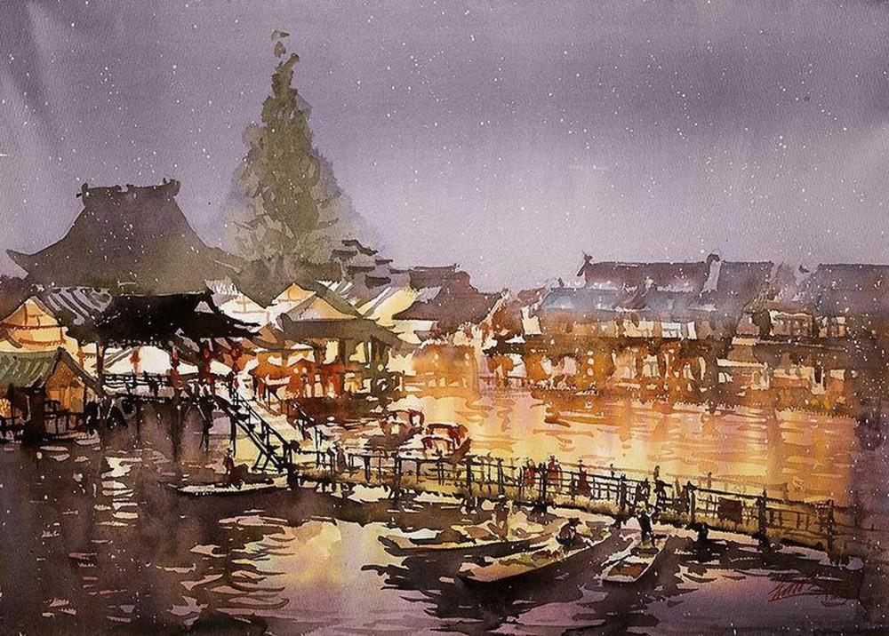 goroda-v-akvarelnyh-kartinah-hudozhnika-Kvan-Yyuk-Pang 8