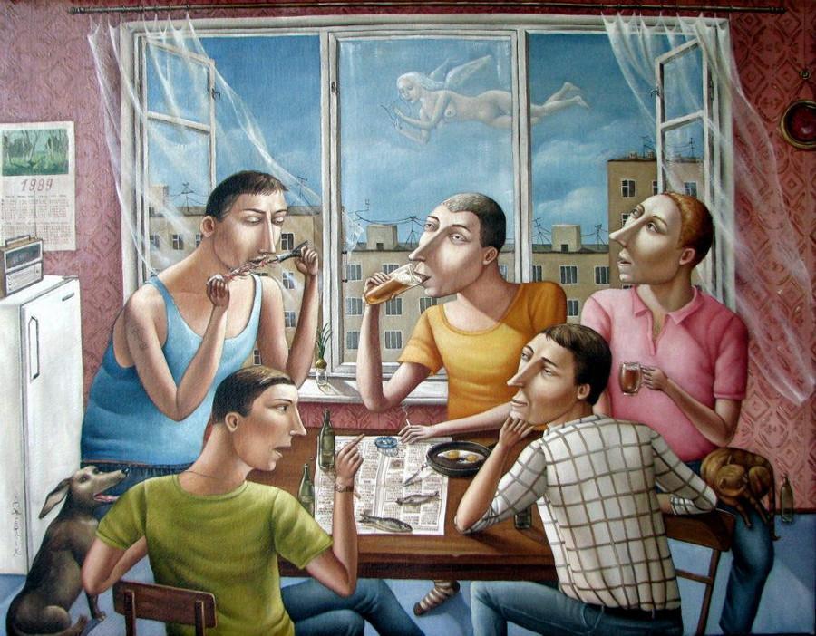 Картины Анжелы Джерих: добрая ирония в советском духе  18