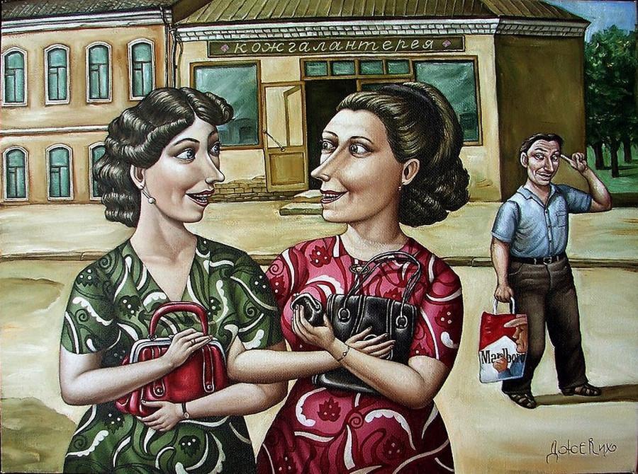 Картины Анжелы Джерих: добрая ирония в советском духе  35