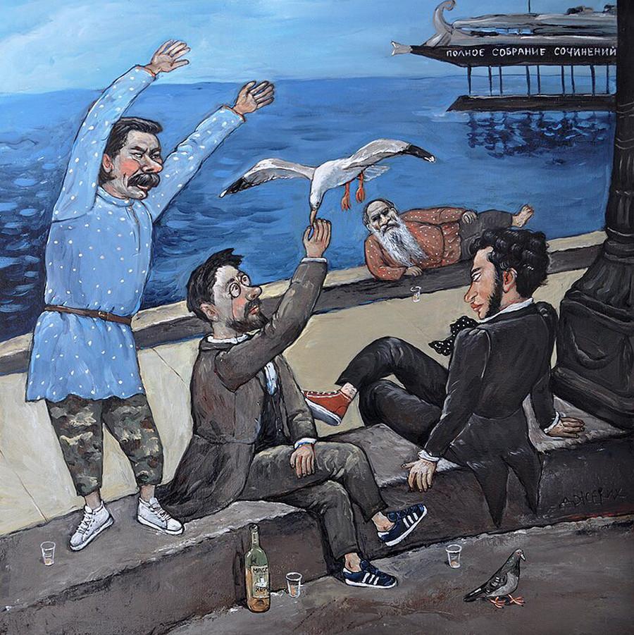 Картины Анжелы Джерих: добрая ирония в советском духе  38
