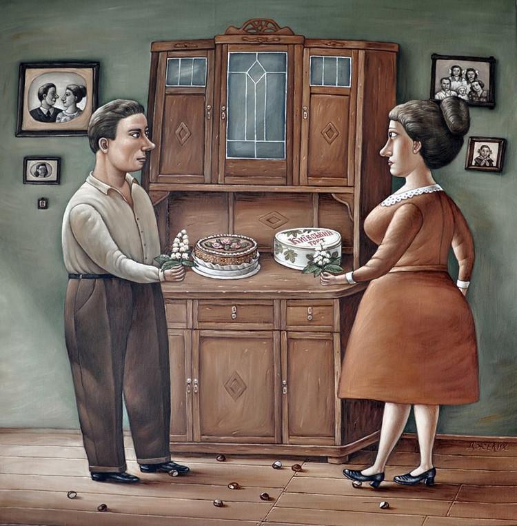Картины Анжелы Джерих: добрая ирония в советском духе  41