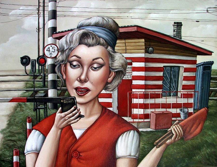 Картины Анжелы Джерих: добрая ирония в советском духе  53