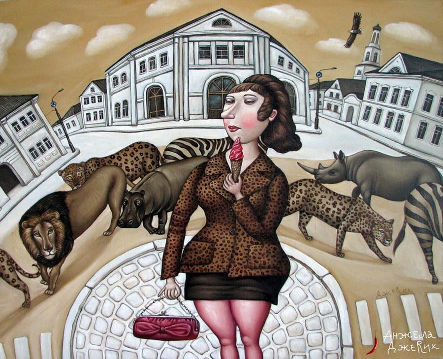 Картины Анжелы Джерих: добрая ирония в советском духе  56