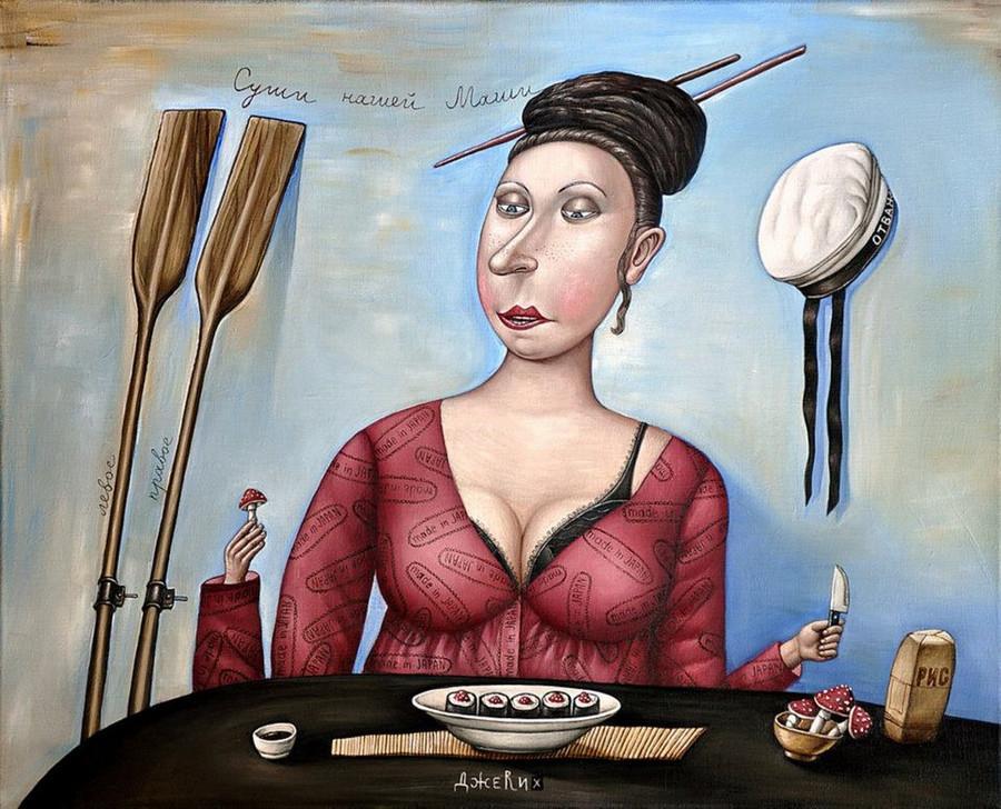 Картины Анжелы Джерих: добрая ирония в советском духе  62