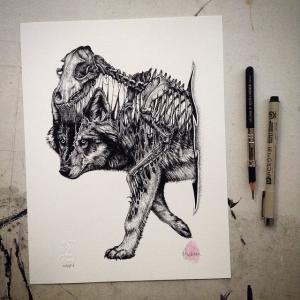 Мрачные рисунки животных, которые напоминают уроки анатомии. Художник Пол Джексон