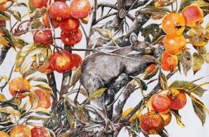 Опьянённый осенью: масштабный акриловый рисунок Чжао На