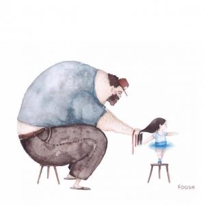 Акварельные рисунки о чуткой папиной любви к маленькой дочке