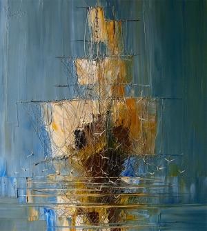 Меланхоличные морские пейзажи и корабли в картинах Юстины Копаня