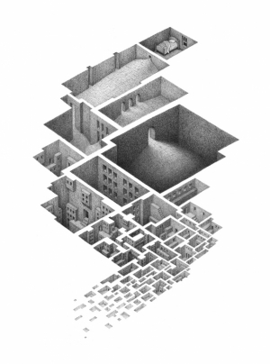 Сложные лабиринтообразные рисунки от Мэтью Борретта (Mathew Borrett)