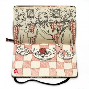 Нереальная «Тайная вечеря» в блокнотных рисунках Натальи Платоновой